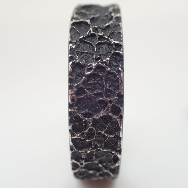 'Burnt Milk' Ring. Textured ring in oxidised eco silver.-Jewellery-Beca Beeby