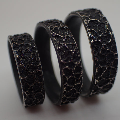 'Burnt Milk' textured ring in oxidised silver.-Jewellery-Beca Beeby