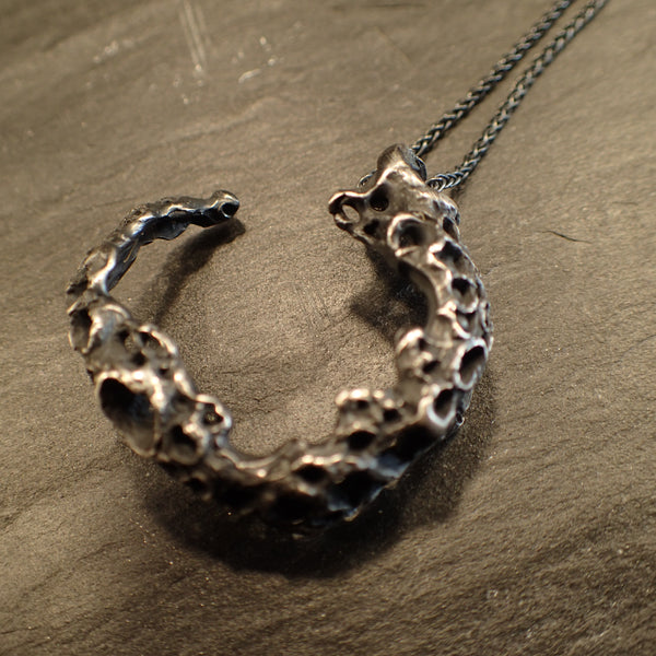 Morphogenetic Silver Necklace, transforms into a statement ring.. Hand carved Ecosilver-Jewellery-Beca Beeby