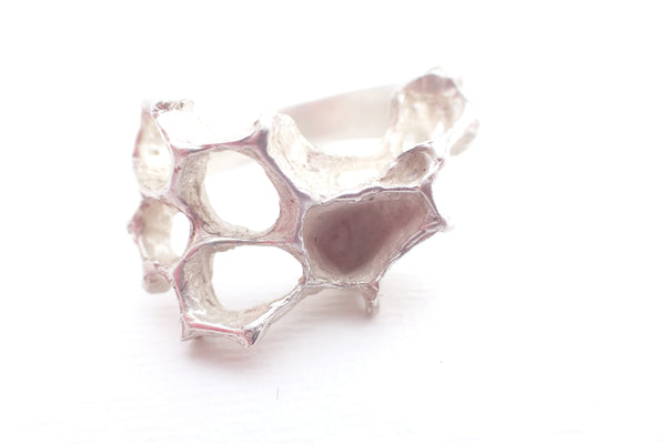 Wild Honeycomb statement ring. Handmade in oxidised and patinated silver.-jewellery-Beca Beeby