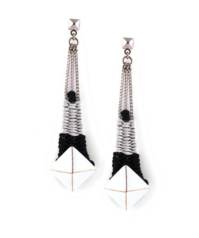 Gloria Earrings White & Silver