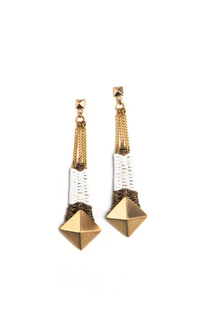Gloria Earrings White & Gold