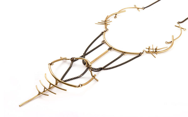 Simone Necklace Brass and Black