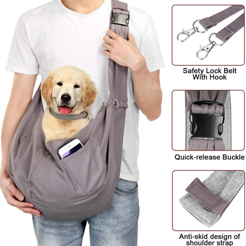 OWNPETS Adjustable Pet Sling Carrier, Fits 15~22lb Cats & Dogs for Daily Walk & Outdoor Activities