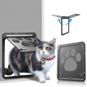 "OWNPETS Lockable Pet Screen Door ( Small : 10"" x 0.4"" x 8'' ) with Magnetic Flap Door for Small Dogs and Cats"
