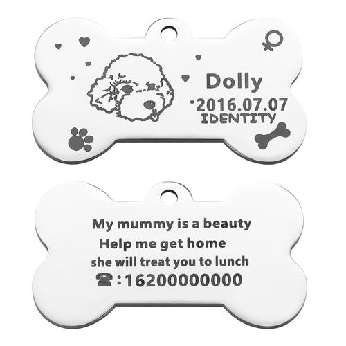 OWNPETS Personalized Stainless Steel Pet ID Tag with Chain & Bell for Dogs & Cats, Engraved on Both Sides - Bone, 4 Colors Optional