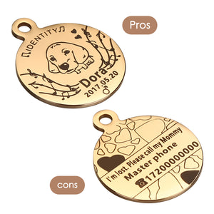 OWNPETS Personalized Stainless Steel Pet ID Tag with Chain & Bell for Dogs & Cats, Engraved on Both Sides - Round, 3 Colors Optional