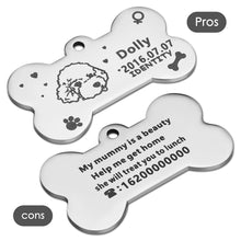 Load image into Gallery viewer, OWNPETS Personalized Stainless Steel Pet ID Tag with Chain & Bell for Dogs & Cats, Engraved on Both Sides - Bone, 4 Colors Optional