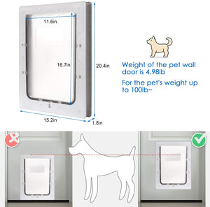 "OWNPETS Pet Wall Door (16.7"" X 14.6"" X 1.77"") with Plastic Flap Door - X-Large"