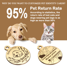 Load image into Gallery viewer, OWNPETS Personalized Stainless Steel Pet ID Tag with Chain & Bell for Dogs & Cats, Engraved on Both Sides - Round, 3 Colors Optional