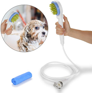 Ownpets Pet Combing Shower Sprayer,Water Sprinkler Brush for Dogs and Cats,Puppy Bath Scrubber,Handheld Grooming Shower Head with Soft Massage Needles