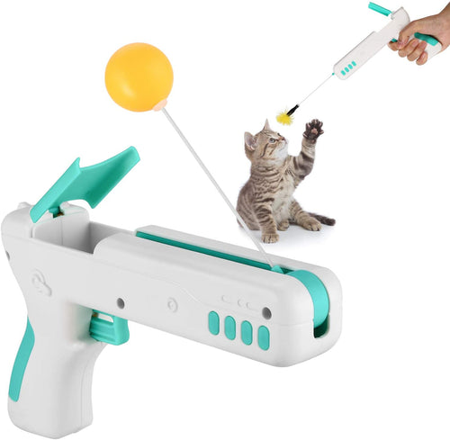 Ownpets Cat Toy Gun, Interactive Cat Toy Gun Shape Toy with Ball & Feather - Blue