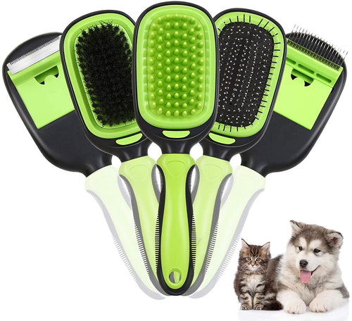 Ownpets 5 in 1 Pet Brush Set, Pet Grooming Shedding Massage Combs for Long Short Hair Dogs & Cats, Removes Undercoat, Dander, Dirt & Improves Circulation
