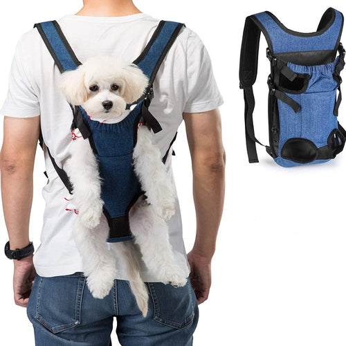 Ownpets Legs Out Front Dog Carrier( L: 8.3 inch x15.7 inch), Hands-Free Adjustable Pet Carrying Backpack, Ideal for Small & Medium Cat, Dog Puppy Doggie