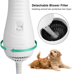 Ownpets 2 In 1 Pet Hair Dryer, Portable Pet Grooming Blower for Dogs & Cats