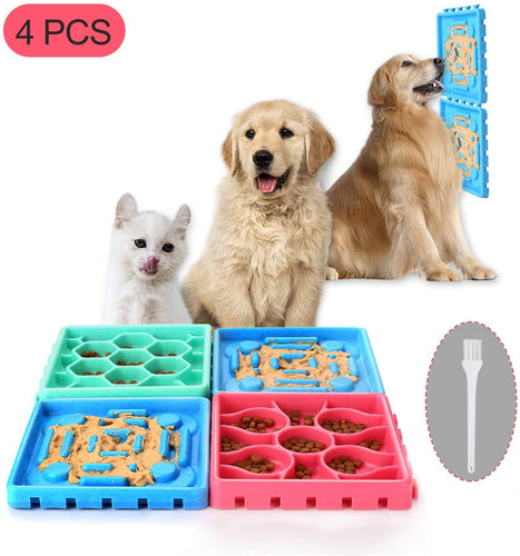 Ownpets Dogs Slow Feeder Tray Sets, 4 pcs Anti-Slip Slow Eating Dogs Feeder Bowl & Licking Trays for Pet Dog Cat Bathing, Grooming & More
