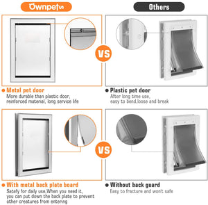 Ownpets Pet Door, X-Large Pet Door ( Inner Frame 11.6 x 16.8 inches) Metal Door Frame and Magnetic Flap Door
