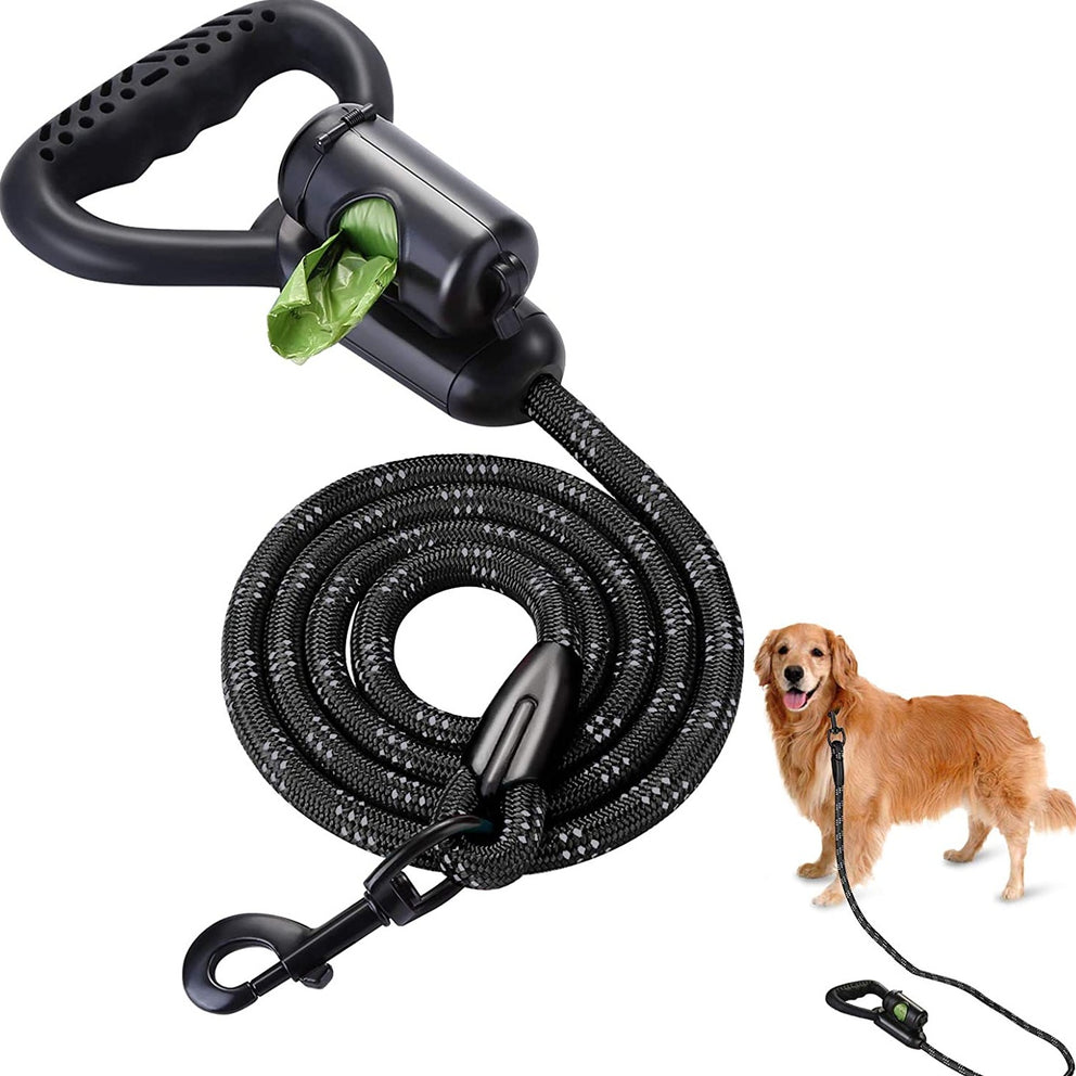 OWNPETS Reflective Dog Leash, 5 ft Hands-Free Dog Leash with Waste Bag Dispenser for Large & Medium Dogs, Suitable for Running, Training, Hiking, Walking & Other Outdoor Activities, Black
