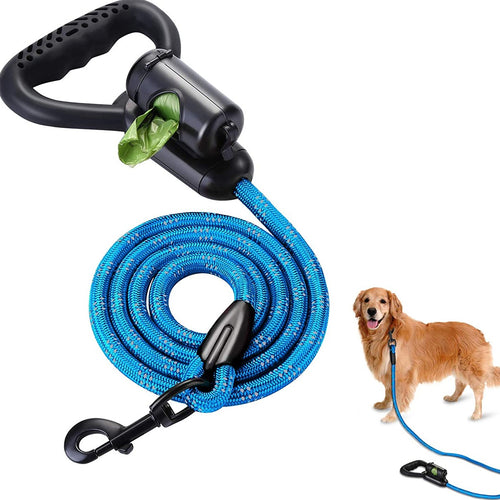 OWNPETS Reflective Dog Leash, 5 ft Hands-Free Dog Leash with Waste Bag Dispenser for Large & Medium Dogs, Suitable for Running, Training, Hiking, Walking & Other Outdoor Activities, Blue