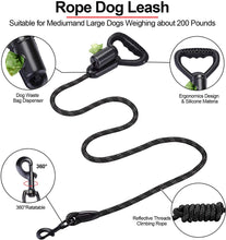 Load image into Gallery viewer, Ownpets Reflective Dog Leash, 5 ft Hands-Free Dog Leash with Waste Bag Dispenser for Large & Medium Dogs, Suitable for Running, Training, Hiking, Walking & Other Outdoor Activities, Black