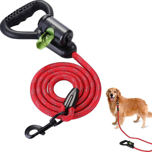 OWNPETS Reflective Dog Leash, 5 ft Hands-Free Dog Leash with Waste Bag Dispenser for Large & Medium Dogs, Suitable for Running, Training, Hiking, Walking & Other Outdoor Activities, Red