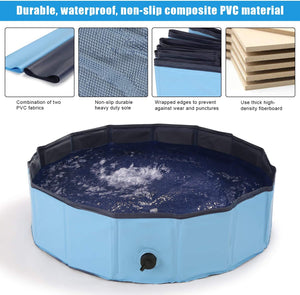 "Ownpets Foldable Pet Pool ( S: 32""x 8"") Portable Dog Swimming Bathing Pool Non-Slip Multi-Purpose for Kids Dogs Cats Pigs More Pets"
