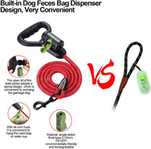 Load image into Gallery viewer, OWNPETS Reflective Dog Leash, 5 ft Hands-Free Dog Leash with Waste Bag Dispenser for Large & Medium Dogs, Suitable for Running, Training, Hiking, Walking & Other Outdoor Activities, Red