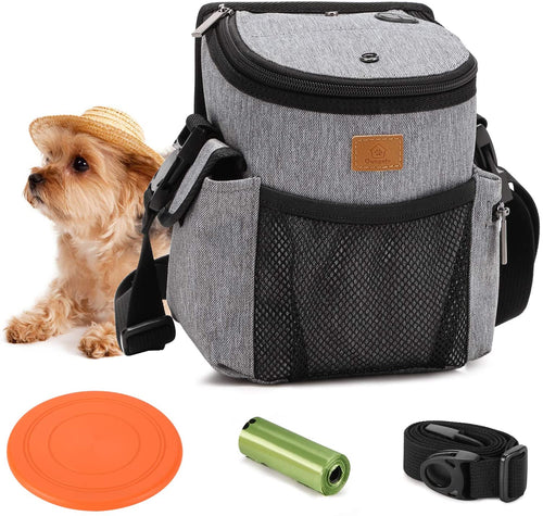 Ownpets Dog Treat Training Pouch with Multiple Pockets, Crossbody Bag Attaches to Waist, Belt or Wear Shoulder to Easily Carry Treats for Outdoor Training, Hiking, Walking & More