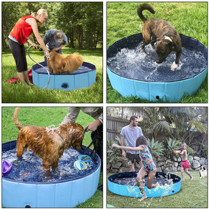 "Ownpets Foldable Pet Pool ( L: 62""x 12""), Portable Dog Swimming Bathing Pool Non-Slip Multi-Purpose Kiddie for Kids Dogs Cats Pigs More Pets"