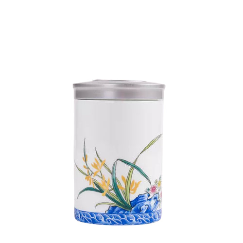Yellow Flower Tea Box / Canister - Ceramic Porcelain Teaware The Grateful Tea Co.