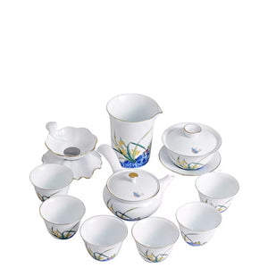 Yellow Flower - Traditional Chinese Porcelain Gaiwan Tea Set Teaware The Grateful Tea Co.