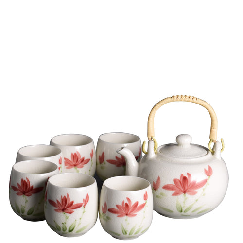 Pink Flower Chinese style Porcelain Handmade Kung Fu Tea Set Teaware The Grateful Tea Co.