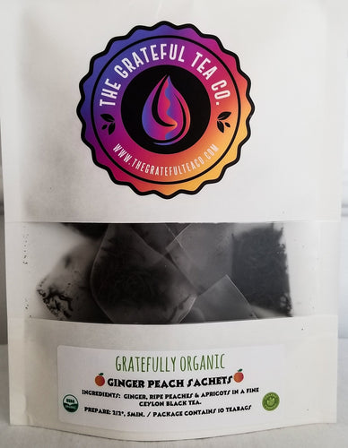 Gratefully Organic Ginger Peach Sachets, contains 10 Tea Bags Organic Tea Bags The Grateful Tea Co.