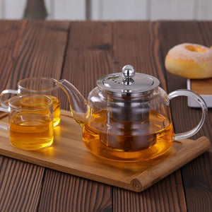 Glass Teapot With Stainless Steel Infuser and Lid (28oz.) Teaware The Grateful Tea Co.