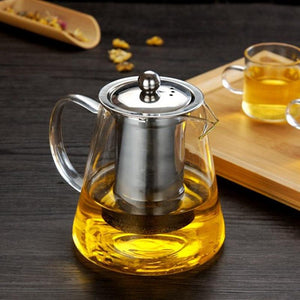 Glass Teapot With Stainless Steel Infuser and Lid (32oz.) Teaware The Grateful Tea Co.