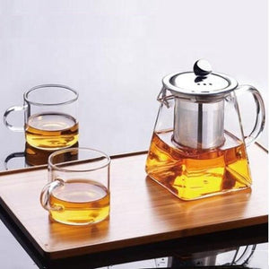 Glass Teapot With Stainless Steel Infuser and Lid (32oz or 43oz) Teaware The Grateful Tea Co.