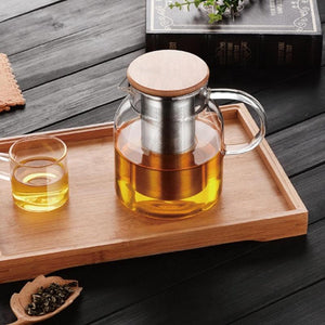 Glass Kettle with Stainless Steel Infuster & Bamboo Lid (34 oz or 60 oz) Teaware The Grateful Tea Co.