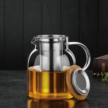 Load image into Gallery viewer, Glass Kettle with Stainless Steel Infuster & Bamboo Lid (34 oz or 60 oz) Teaware The Grateful Tea Co.