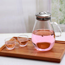 Load image into Gallery viewer, Glass Pitcher with Lid 64 oz Teaware The Grateful Tea Co.