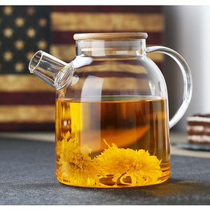 Glass Kettle with Filter & Bamboo Lid 54 oz Teaware The Grateful Tea Co.