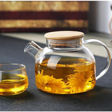 Load image into Gallery viewer, Glass Kettle with Filter & Bamboo Lid 33 oz Teaware The Grateful Tea Co.