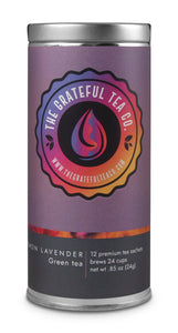 Gourmet Lemon Lavender Green Tea Sachets Teabags The Grateful Tea Co.