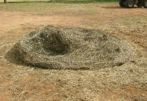 GutzBusta® Round Bale Hay Net almost fully consumed
