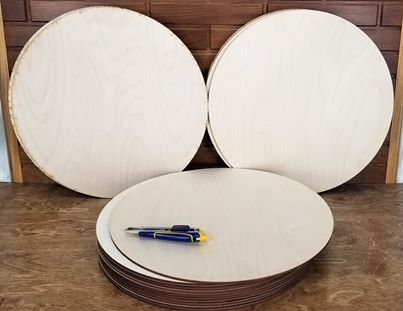 Round cutouts 6mm 1/4 inch baltic birch cutouts round 18 inch rounds  (Box of 10 pieces)  Free Shipping