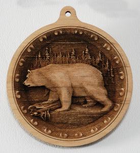 Bear Ornament 3D wood ornament wooden bear ornament