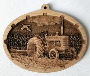 Vintage Tractor Farmall McCormick International Harvester 3D Wood Ornament wooden Tractor