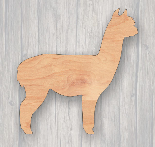 Alpaca. Wood cutout.  Unfinished wood cutout. Laser Cutout. Wood Sign.  Sign blank. Ready to paint. Door Hanger.