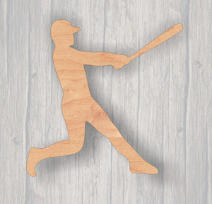 Baseball Player. Batter. Wood cutout.  Laser Cutout. Wood Sign. Unfinished wood cutout. Sign blank. Ready to paint.