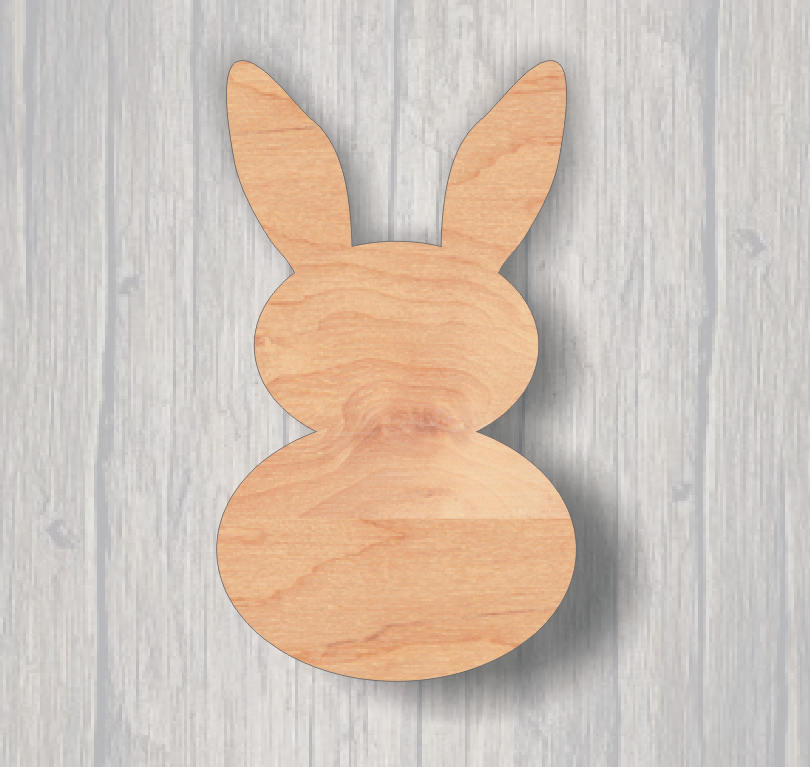 Bunny2.  Wood cutout.  Laser Cutout. Wood Sign. Unfinished wood cutout. Sign blank. Ready to paint. Door Hanger.
