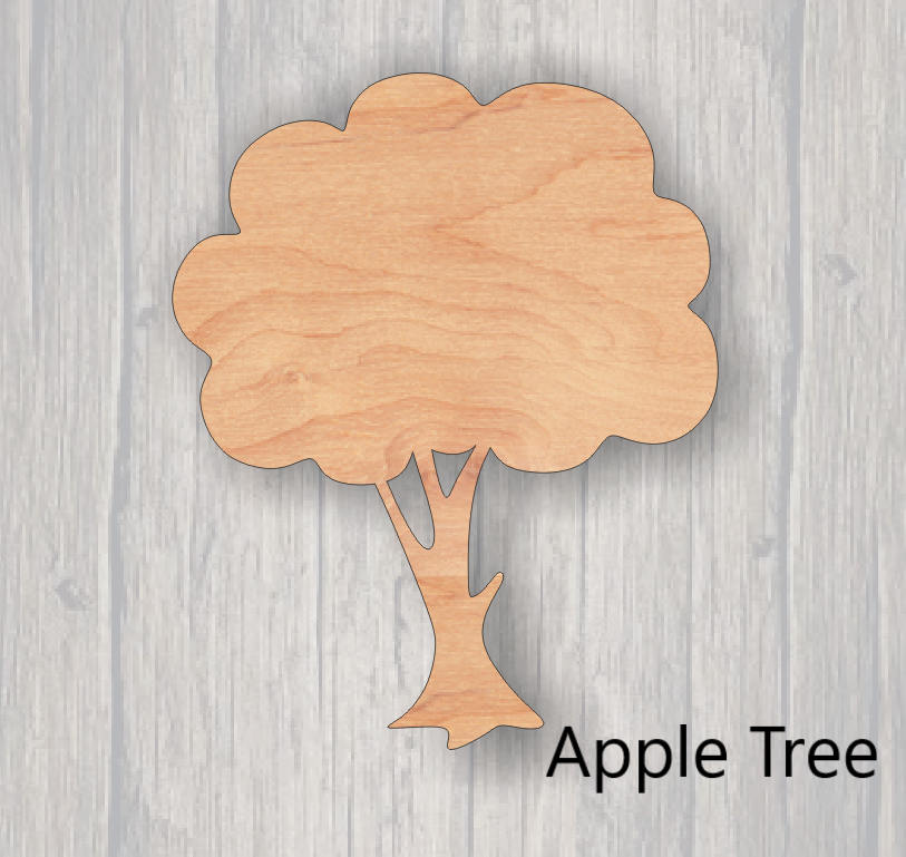 Apple Tree. Wood cutout.  Laser Cutout. Wood Sign. Unfinished wood cutout. Sign blank. Ready to paint. Door Hanger.